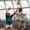 Ireland responded with a fiery series of phases. Shane Jennings is pictured competing for a cross-field kick with France's Maxime Médard