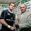 Shane Jennings receives his man-of-the-match award afterwards from Heineken's Pat Maher