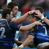 Fergus McFadden, Nathan Hines and Ed O'Donoghue congratulate Shane Jennings on his early try