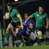 Winger Shane Monahan, who was making his competitive debut for Connacht, tries to shrug off Samoa's Jamie Helleur