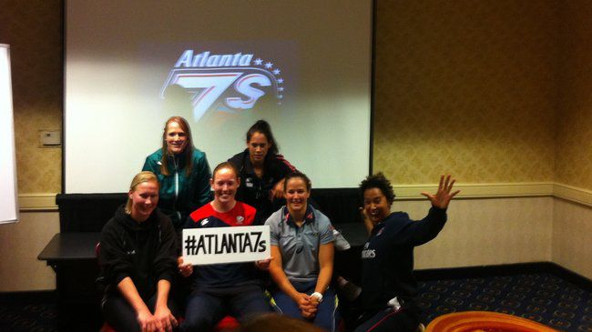 Ireland capatin Shannon Houston with fellow captains at the Atlanta 7s Google+ Hangout evening