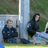 Injured duo Shaun Berne and Jonathan Sexton watch their Leinster team-mates train at UCD