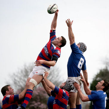 Simon Crawford wins a lineout for Clontarf