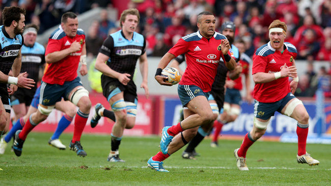 Simon Zebo charges forward for Munster