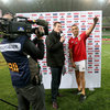 Sky Sports presenter Will Greenwood encouraged his interviewee Simon Zebo to wave to the supporters after they chanted, 'Zebo, give us a wave, Zebo, Zebo give us a wave!'