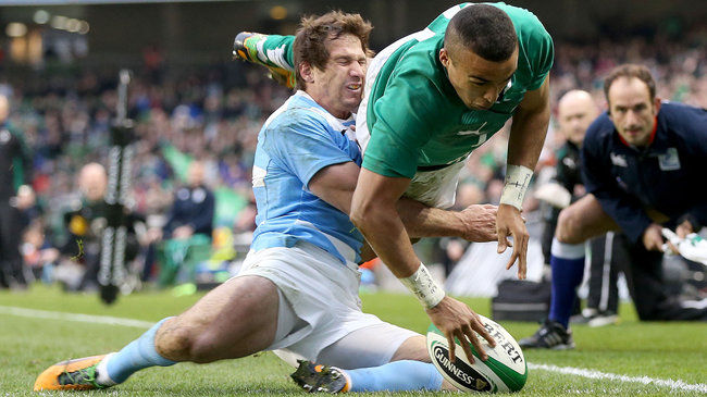 Simon Zebo touches down against Argentina