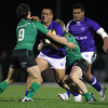 Connacht backs Cillian Willis and Eoin Griffin combine as they try to halt the progress of Samoa winger Sinoti Sinoti