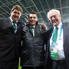 Forwards coach Gert Smal, assistant performance analyst Eoin Toolan and backs coach Alan Gaffney were in celebratory mood after Ireland's three-try success