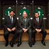Ireland's forwards coach Gert Smal, head coach Declan Kidney and defence coach Les Kiss are pictured inside one of the Aviva Stadium dressing rooms