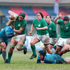 Second row Sophie Spence, one of the Exiles in Philip Doyle's squad, carries the ball forward during the final round clash