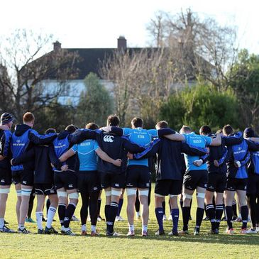 The Leinster players huddle together