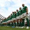 Brian O'Driscoll and the Ireland squad line up for the anthems prior to the opening GUINNESS Summer Series match