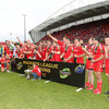 It is the second time Munster have received the Magners League trophy at Thomond Park. They did likewise in May 2009