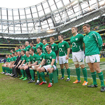 The Ireland players are pictured with IRFU President Caleb Powell