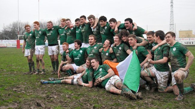 The Ireland U-18s celebrate their recent win in Italy