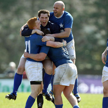 The St. Mary's College players celebrate after the final whistle