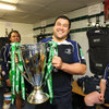 Stan Wright, the first Cook Islander to win the Heineken Cup, proudly displays European club rugby's premier trophy