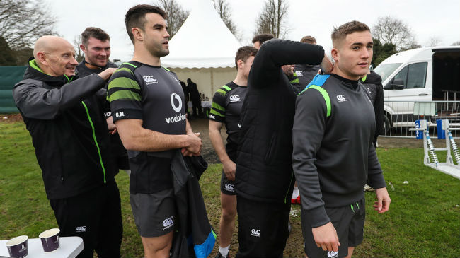 Ireland players are fitted with their GPS units