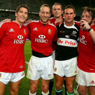 Stefan Terblanche is pictured with some of his former Ospreys team-mates