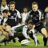 London Irish's Steffon Armitage tries to win the ball back for the Exiles as Liam Bibo closes in