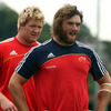 Academy prop Stephen Archer and his fellow front rower Dave Ryan, who has graduated from the Academy, wait for instruction