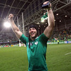 A happy Stephen Ferris raises his arms aloft after Declan Kidney's men set a new Irish record of four consecutive Rugby World Cup wins