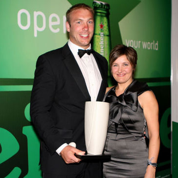 Ulster back rower Stephen Ferris is pictured with his award