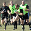 Flanker Stephen Ferris carries forward, with Gordon D'Arcy, Paul O'Connell and John Hayes in the background
