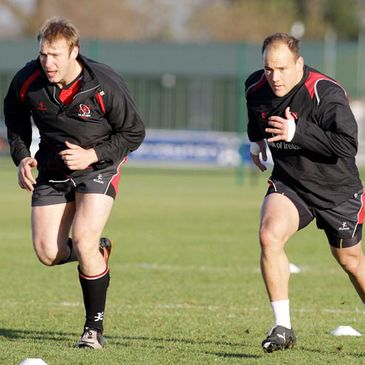 Stephen Ferris and BJ Botha training with Ulster