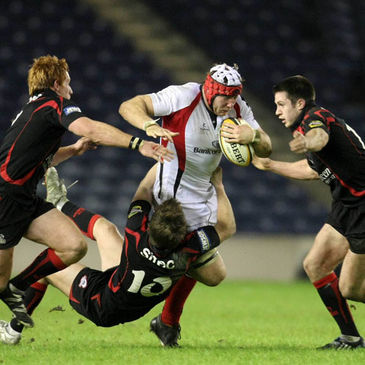 Stephen Ferris tries to break forward against Edinburgh