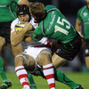 Two Ireland internationals compete for possession as Connacht's Gavin Duffy challenges Ulster flanker Stephen Ferris