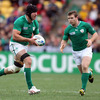 Stephen Ferris and Gordon D'Arcy, two of Ireland's leading lights last time out against Italy, are pictured in action against Wales