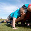 Flanker Stephen Ferris adds his bulk to a training ground scrum as the forwards prepare to face the USA this weekend