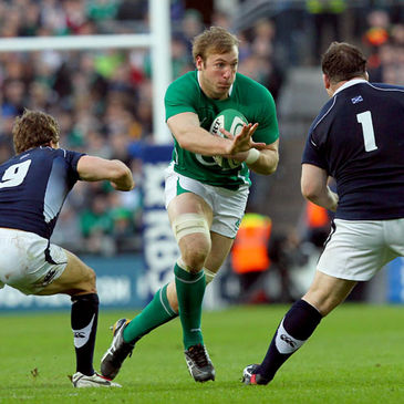 Stephen Ferris in action for Ireland against Scotland