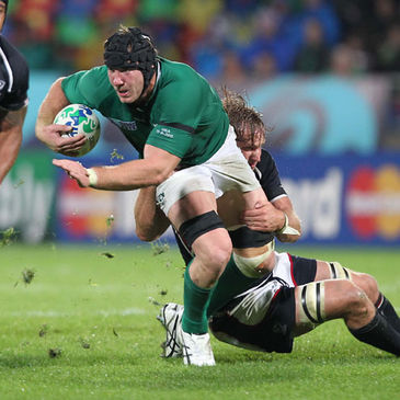 Stephen Ferris carries the ball forward for Ireland