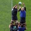 Stephen Ferris and Leo Cullen contest a lineout ball as the forwards work on their set piece moves at New Plymouth Boys High School