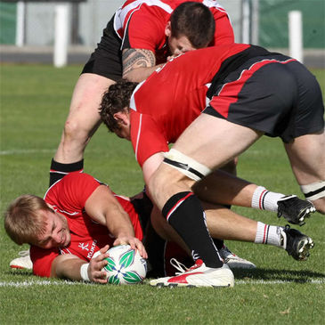 Stephen Ferris lays the ball back at training