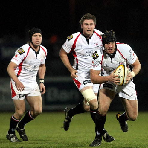 Stephen Ferris takes the ball on against Munster