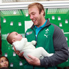 Four-month-old Te Oneroa Oneroa became Stephen Ferris' latest fan during the players' fun-filled visit to Selwyn Primary School