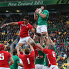 Flanker Stephen Ferris is pictured winning a lineout for Ireland as they look to recover from the concession of Shane Williams' early try