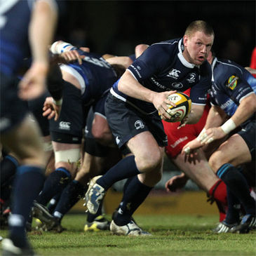 Back rower Stephen Keogh on the ball for Leinster