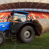 The grounds staff had to quickly clear the straw from the pitch as the hours ticked away before kick-off at 5pm