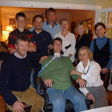 Stuart Mangan with family and friends