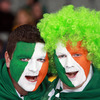 Face-painted fans Brian Moynihan and Nicky Halley were ready to answer 'Ireland's Call' and cheer on Declan Kidney's men in Auckland