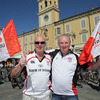 Ulster supporters Bill Penny and Philip McMurtry are pictured soaking up the pre-match atmosphere in Garibaldi Square
