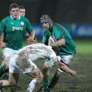 Tadhg Beirne in possession for the Ireland Under-20s