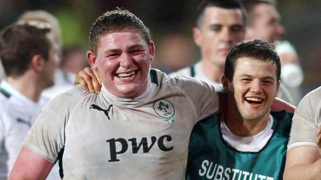 Leinster's Tadhg Furlong and Sam Coghlan Murray