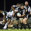London Irish try-scorer Sailosi Tagicakibau gets to grips with Connacht's Michael Swift