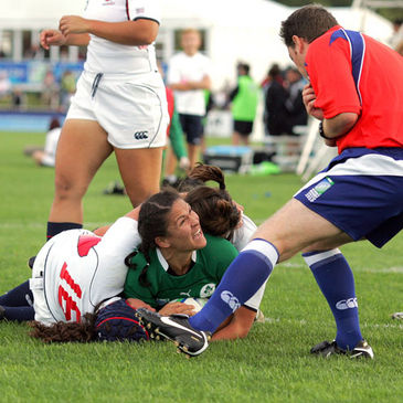 Tania Rosser looks to the referee to award her try