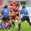 Scarlets scrum half Tavis Knoyle is closed down by Leinster duo Isaac Boss and Richardt Strauss in Llanelli